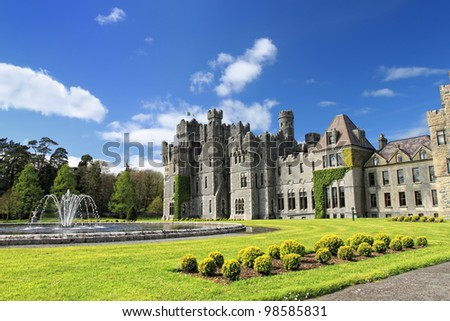 Medieval Ashford castle and gardens - Co. Mayo - Ireland. - stock photo