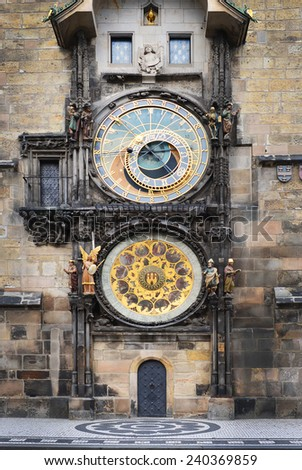 Medieval Astronomic clock (Orloj) on the Old Town Hall tower at Staromestska square in Prague, Czech Republic, Central Europe - stock photo