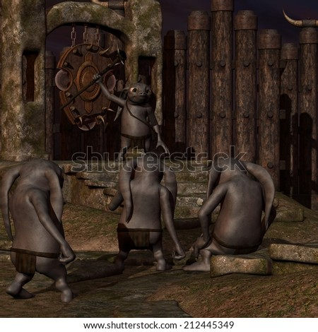 Medieval background with fantasy toon figure - stock photo
