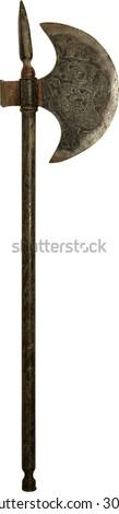 medieval barbarian or viking vintage axe - stock photo