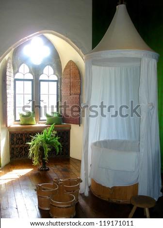 Medieval bathroom  inside Leeds Castle , United Kingdom - stock photo