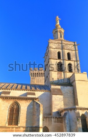 Medieval belfry above the Avignon Cathedral, Provence, France - stock photo
