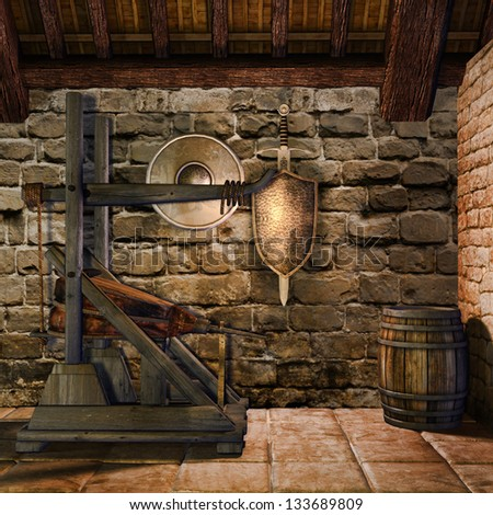 Medieval blacksmith's chamber with weapons and tools - stock photo