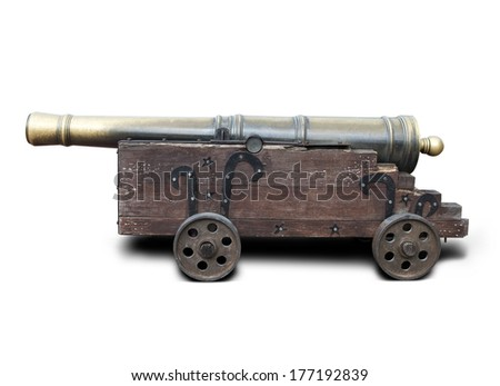 Medieval brass cannon isolated on white with clipping path - stock photo