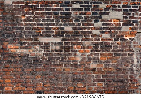 Medieval brick wall texture. Architectural pattern.