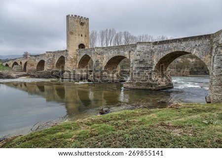 Medieval bridge of Frias in Burgos, Spain - stock photo