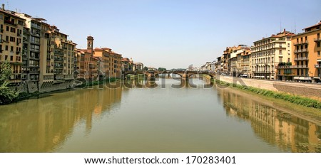 Medieval Bridge over Arno River Florence Italy