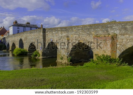 medieval bridge over the river avon bidford on avon warwickshire the midlands england uk  - stock photo