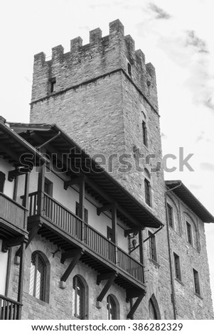 Medieval building in Arezzo, Tuscany (black and white picture)