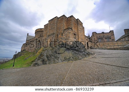 Medieval buildings in Edinburgh castle, Scotland, UK - stock photo