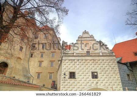 Medieval buildings of the Cesky Krumlov castle, Czech Republic - stock photo