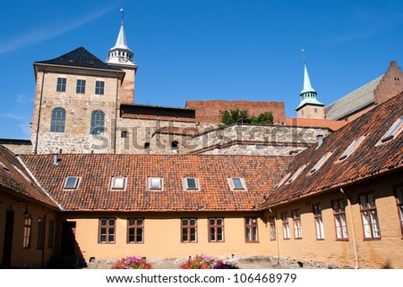 Medieval castle Akershus Fortress in Oslo - stock photo