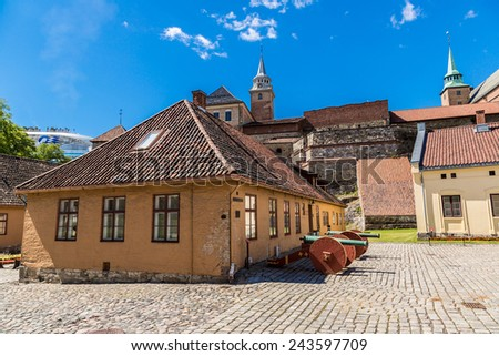 Medieval castle Akershus Fortress in Oslo. Norway - stock photo