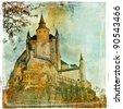medieval castle Alcazar, Segovia,Spain- picture in paintig style - stock photo