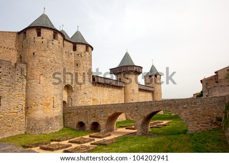 Medieval castle and bridge of Carcassonne, France - stock photo