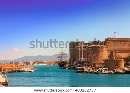 Medieval Castle and old harbor in Kyrenia, Cyprus. - stock photo
