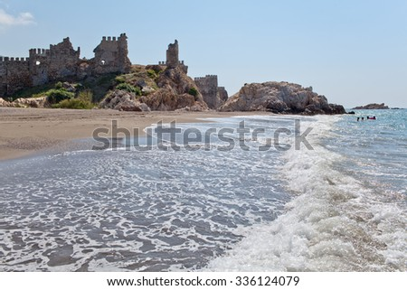 Medieval castle and plage in the Anamur, Turkey - stock photo