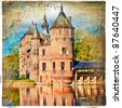 medieval castle - artwork in painting style (from my castles collection) - stock photo