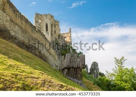 Medieval castle Beckov, the first written mention of the 13th century. Europe, Slovakia.