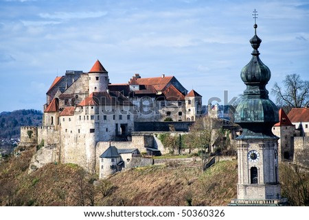Medieval castle Burghausen in Bavaria - stock photo
