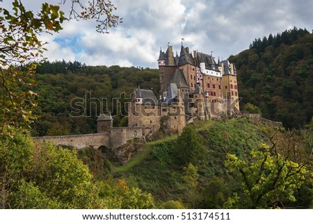 Medieval castle Eltz in a cloudy autumn day, Rhineland-Palatinate; Germany