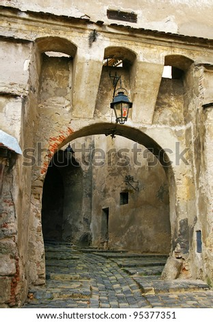 medieval castle entrance archway in - stock photo