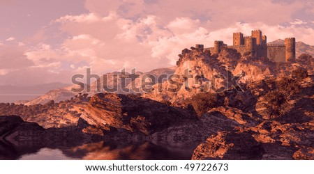 Medieval Castle Fortress - stock photo