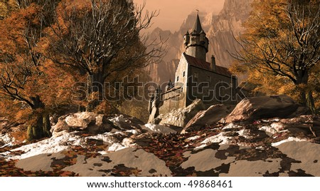 Medieval Castle Fortress In The Mountains - stock photo