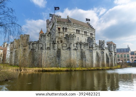 Medieval castle Gravensteen (Castle of the Counts) in Gent, Belgium. Castle was built in 1180 by count Philip of Alsace. - stock photo