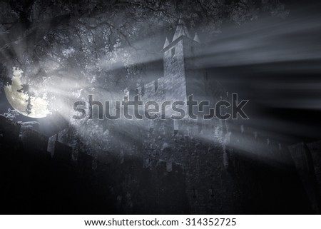 Medieval castle in a foggy full moon night with light beams filtered by the leaves from trees - stock photo