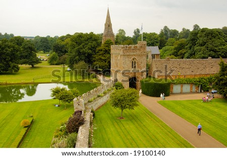 Medieval castle in England in summer day