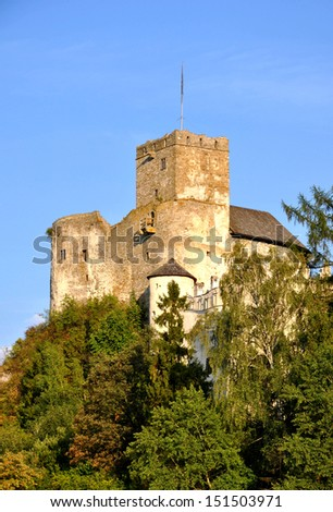 Medieval castle in Niedzica, Poland, upper part, built in 14th century - stock photo