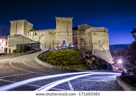 Medieval castle in Rubielos Mora, Teruel, Spain. - stock photo