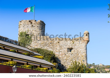 Medieval castle in Santa Margherita Ligure, which is popular touristic destination in summer