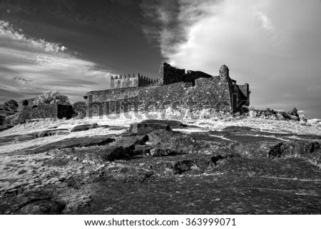 Medieval Castle of Lindoso, north of Portugal. Black and white. Used infrared filter. - stock photo