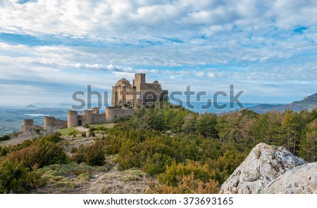 Medieval castle of Loarre in Huesca, Spain - stock photo