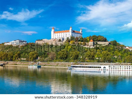 Medieval castle on a hill in a summer day in Bratislava, Slovakia - stock photo