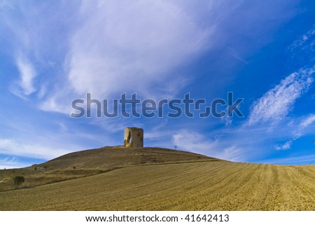 Medieval castle on a hill. Mota del Marques's castle,in Valladolid - stock photo