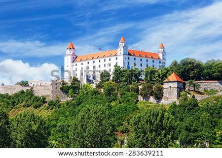 Medieval castle on the hill against the blue sky, Bratislava, Slovakia - stock photo