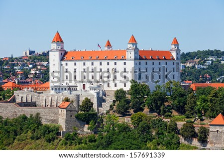 Medieval castle on the hill against the sky, Bratislava, Slovakia - stock photo