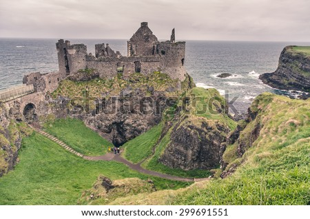 Medieval castle on the sea coast, Ireland - stock photo