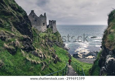 Medieval castle on the sea coast, Ireland - stock photo