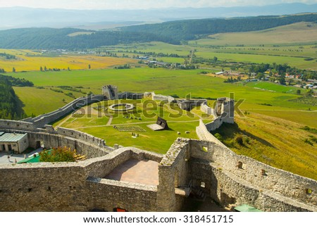 medieval castle ruins aerial view - stock photo