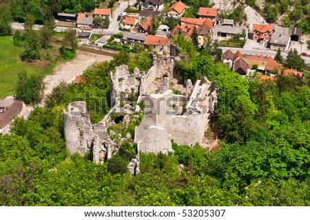 Medieval castle ruins in green forest. Aerial view. Stari Grad Samobor, Croatia