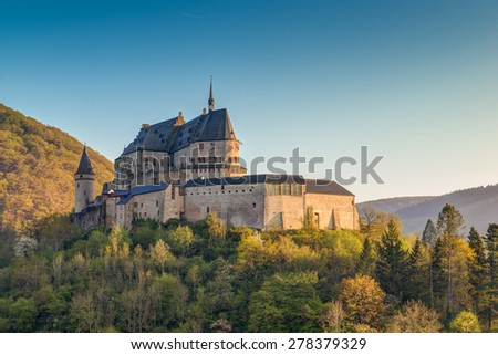 Medieval Castle Vianden, build on top of the mountain in Luxembo - stock photo
