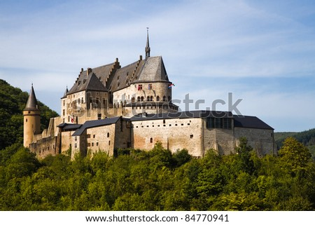 Medieval Castle Vianden, build on top of the mountain in Luxembourg or Letzebuerg - stock photo