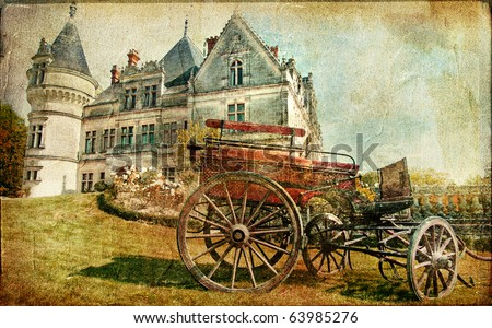 medieval castle with carriage - vintage picture - stock photo