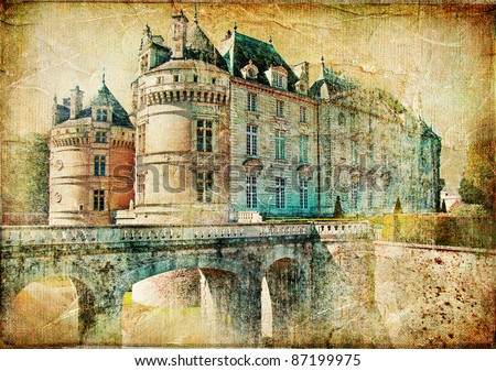 medieval castles of old France -artistic  retro styled picture - stock photo