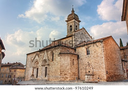 medieval catholic church in Tuscany, la Collegiata (sec. XIV) antique cathedral of San Quirico d'Orcia, Siena, Italy - hdr image - stock photo