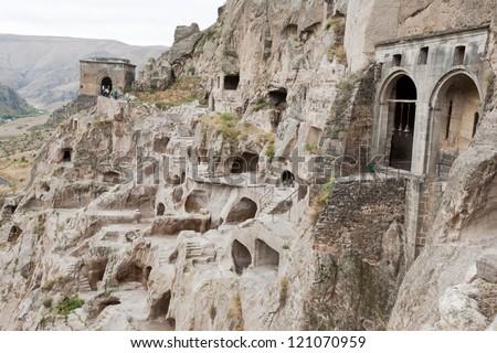 Medieval cave city/monastery Vardzia, Georgia, caucasus. - stock photo